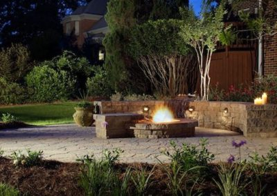 Outdoor living area and firepit